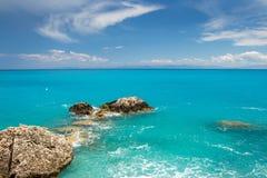 Jasna błękitne wody w Lefkada wyspie, Grecja -3 Fotografia Royalty Free