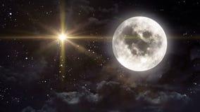 Jasna księżyc z kolor żółty gwiazdą ilustracji