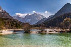 Jasna Lake, gamma-Kranjska Gora, Slovenia della montagna Immagini Stock