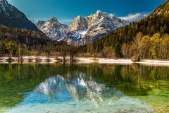Jasna Lake, gamma-Kranjska Gora, Slovenia della montagna Fotografia Stock