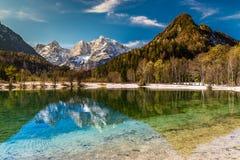Jasna Lake,Mountain Range-Kranjska Gora,Slovenia. Beautiful View Of Jasna Lake With Stenar,Razor And Kriz Mountains In The Background-Kranjska Gora, Slovenia stock images