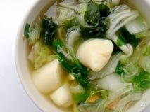 Jasna polewka z Bobowym Curd, mieszanki warzywem, Tofu i gałęzatką w białym pucharze na białym tle, Jarski jedzenie, Zdrowy jedze Fotografia Stock