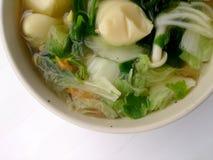 Jasna polewka z Bobowym Curd, mieszanki warzywem, Tofu i gałęzatką w białym pucharze na białym tle, Jarski jedzenie, Zdrowy jedze Obrazy Royalty Free