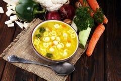 Jasna polewka z kurczakiem i kluskami Rosół z marchewkami, cebul różnorodni świezi warzywa w garnku obraz royalty free