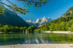 Jasna sjö, Kranjska Gora, Slovenien Fotografering för Bildbyråer
