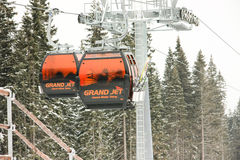 JASNA, SLOVAKIA - February 14: Modern cableway, Funitel system,. In ski resort Jasna - Low Tatras mountains on February 14, 2014 in Jasna Royalty Free Stock Images