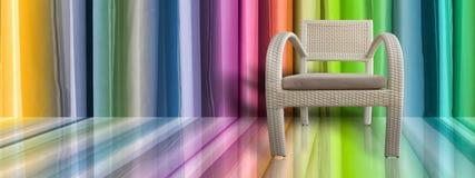 Jasnobrązowa Łozinowego krzesła koloru ściana obraz stock