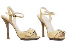 Jasnobrązowa wysokość - jasnobrązowi buty Zdjęcie Stock