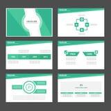 Jasnozielonego Infographic elementów ikony prezentaci szablonu płaski projekt ustawia dla reklamowej marketingowej broszurki ulot Zdjęcie Stock
