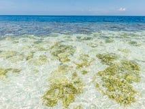 Jasny błękitny morze, niebo i biel, wyrzucać na brzeg Zdjęcia Royalty Free