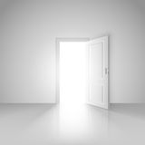 Jasny biały pokój z rozpieczętowanym drzwi nowy świat ilustracji