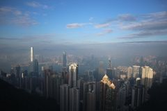 Jasny horyzont Hong Kong obrazy stock