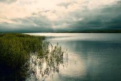 Jasny jezioro z zielonymi roślinami, gęsty zmrok chmurnieje zmierzch łama zdjęcie stock