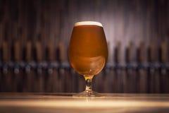 Jasny piwo z pianą na tle klepnięcia Fotografia Royalty Free