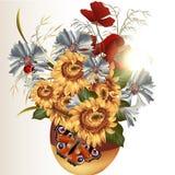 Jasny tło z śródpolnymi kwiatami Zdjęcia Stock