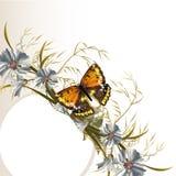 Jasny tło z sztandaru i pola kwiatami Obraz Royalty Free