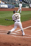 Jason Jaramillo of  the Pittsburgh Pirates. Swings at a pitch on September 24, 2009 in Pittsburgh, PA Royalty Free Stock Image