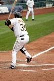 Jason Jaramillo of  the Pittsburgh Pirates. Swings at a pitch on September 24, 2009 in Pittsburgh, PA Stock Images