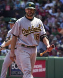 Jason Kendall, collettore di Oakland Athletics Fotografia Stock