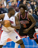 Jason Maxiell Is Guarded By Ben Wallace. Jason Maxiell of the Detroit Pistonsis guarded by Ben Wallace during a game against the New York Knicks at the The Stock Photos