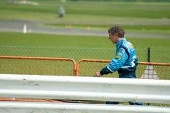 Jason Plato. THRUXTON, UNITED KINGDOM - MAY 1, 2011: Jason Plato, reigning British Touring Car champion returning to the pits after crashing at the Thruxton Stock Photo