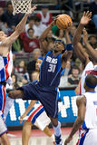 Jason Terry. Of the Dallas Mavericks has the ball during a game against the Detroit Pistons at the The Palace Of Auburn hills during the 2006-2007 season Stock Photography