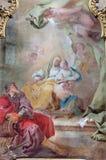 Jasov - Barok zijaltaar en panit van Heilige Ann en Maagdelijke Mary door Johann Lucas Kracker (1752 - 1776) van Premonstratesian- royalty-vrije stock foto