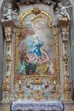 Jasov - Barokke zijaltaar en verf van Vlekkeloze conceptie door Johann Lucas Kracker (1752 - 1776) van Premonstratesian cloiste royalty-vrije stock foto
