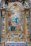 Jasov - baroku boczny ołtarz i farba (- 1752, 1776 od Premonstratesian cloiste Johann Lucas Kracker Niepokalany poczęcie) zdjęcie royalty free