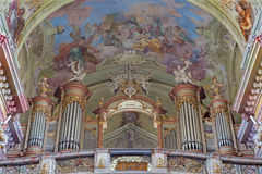Jasov - Baroque organ and fresco by Johann Lucas Kracker (1752 - 1776) on baroque ceiling from Premonstratesian cloister in Jasov. On January 2, 2014 in Jasov stock images