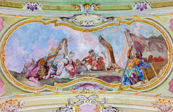 Jasov - Decapitation of St. John the Baptist fresco by Johann Lucas Kracker (1752 - 1776) on baroque ceiling from  Premonstratesia Royalty Free Stock Image