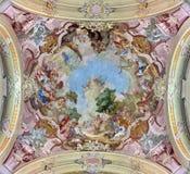 Jasov - fresco de St. John el Bautista de Johann Lucas Kracker a partir del año (1752 - 1776) en techo barroco del cl de Premonstr Fotos de archivo