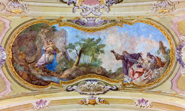 Jasov -  Fresco of refuge of St. John the Baptist at Massacre of the Innocents by J, L, Kracker (1752 - 1776) on baroque ceiling f Stock Photography