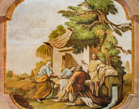 Jasov - Hall med freskomålningen av platsen - tre änglar som besöker Abraham av Johann Lucas Kracker (1752 - 1776) från Premonstra Royaltyfria Foton