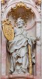 Jasov - sculpture baroque de saint Jude Thadeus l'apôtre dans la nef du cloître de Premonstratesian par Johann Anton Krauss (1728  Images libres de droits