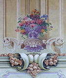 Jasova - Fresco of baroque bouquet  by J, L, Kracker (1752 - 1776) on baroque ceiling from cloister in Jasov Royalty Free Stock Photography
