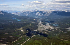 Jasper. The town of Jasper, Alberta, Canada as seen from the top of Whistler's Mountain Royalty Free Stock Photo