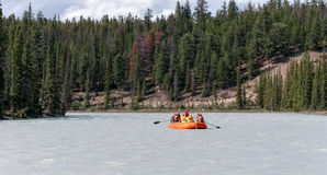 JASPER, ALBERTA/CANADA - AUGUST 9 : Whitewater rafting on the At Royalty Free Stock Images
