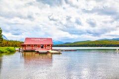 Maligne Lake in Jasper National Park in Alberta Canada. JASPER, CANADA - JUL 10, 2018: The landmark Maligne Lake Boat House dock in Jasper National Park, Alberta Stock Photos