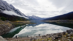 JASPER, CANADA - SEPTEMBER 9, 2016: Maligne Lake, Jasper Nationa. JASPER, CANADA - SEPTEMBER 9, 2016: Medicine Lake, Jasper National Park on 9 September 2016 in Stock Images