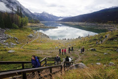 JASPER, CANADA - SEPTEMBER 9, 2016: Maligne Lake, Jasper Nationa. JASPER, CANADA - SEPTEMBER 9, 2016: Medicine Lake, Jasper National Park on 9 September 2016 in Stock Photo