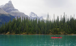 JASPER, CANADA - SEPTEMBER 9, 2016: Maligne Lake, Jasper Nationa royalty free stock photography