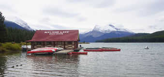 JASPER, CANADA - SEPTEMBER 9, 2016: Maligne Lake, Jasper Nationa. L Park on 9 September 2016 in Jasper, Maligne Lake is one of the major tourist attractions in Royalty Free Stock Images