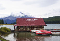 JASPER, CANADA - SEPTEMBER 9, 2016: Maligne Lake, Jasper Nationa. L Park on 9 September 2016 in Jasper, Maligne Lake is one of the major tourist attractions in Royalty Free Stock Photography