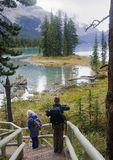 JASPER, CANADA - SEPTEMBER 9, 2016: Maligne Lake, Jasper Nationa. L Park on 9 September 2016 in Jasper, Maligne Lake is one of the major tourist attractions in Stock Photos