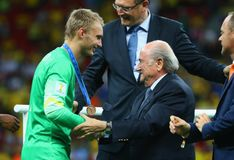 Jasper Cillessen and Sep Blatter Coupe du monde 2014 Royalty Free Stock Photography