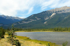 Jasper lake and mountains Royalty Free Stock Photo