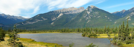 Jasper lake and mountains royalty free stock photography