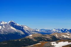 Jasper Mountain Range. A blue sky with a wide panorama of the Canadian Rockies. The view of a rewarding day hike near Maligne Lake in Jasper National Park Royalty Free Stock Images
