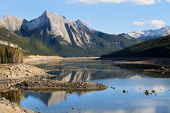 Jasper National Park Reflection at Medecine lake Stock Photos